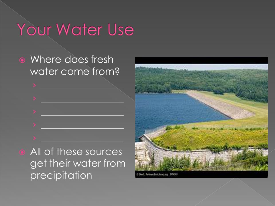  Where does fresh water come from.
