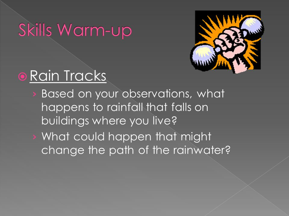  Rain Tracks › Based on your observations, what happens to rainfall that falls on buildings where you live.