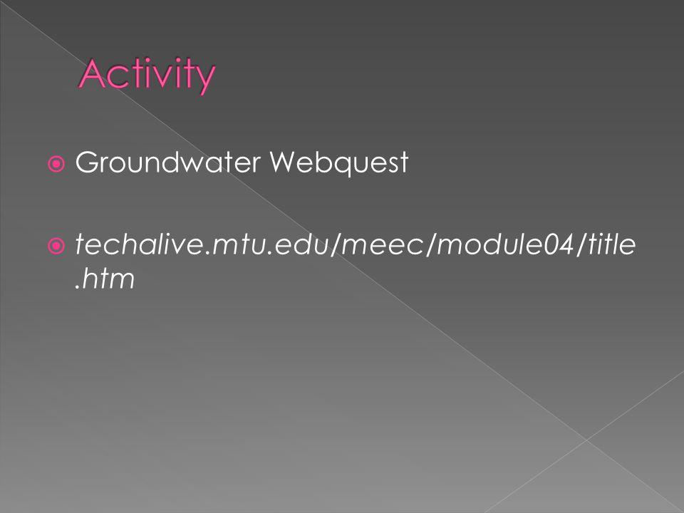  Groundwater Webquest  techalive.mtu.edu/meec/module04/title.htm