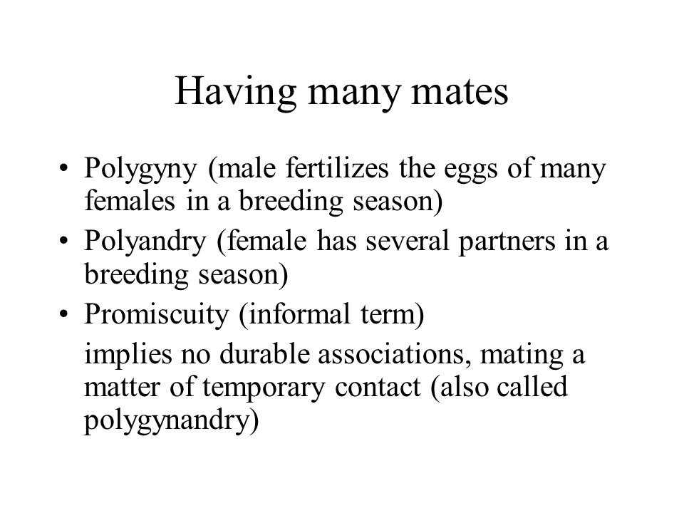 Having many mates Polygyny (male fertilizes the eggs of many females in a breeding season) Polyandry (female has several partners in a breeding season) Promiscuity (informal term) implies no durable associations, mating a matter of temporary contact (also called polygynandry)