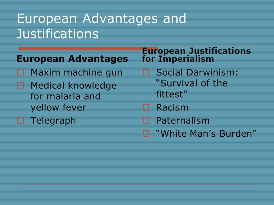 European Advantages and Justifications  Maxim machine gun  Medical knowledge for malaria and yellow fever  Telegraph  Social Darwinism: Survival of the fittest  Racism  Paternalism  White Man's Burden European Advantages European Justifications for Imperialism
