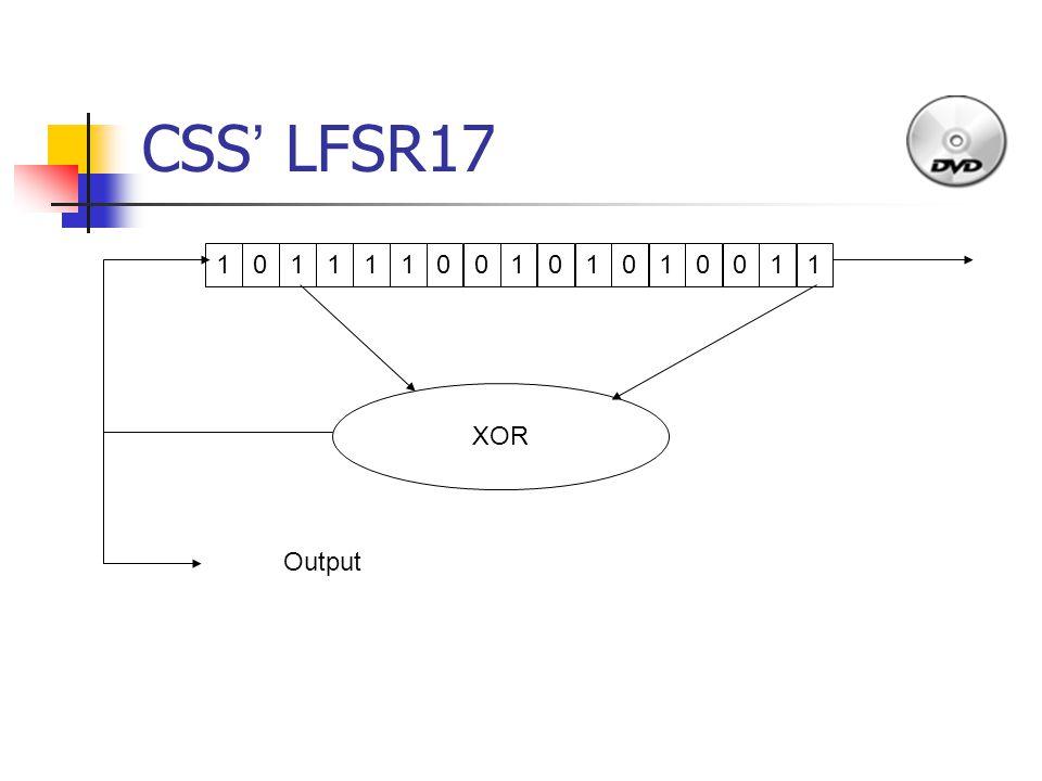 10111100101010011 XOR Output CSS ' LFSR17