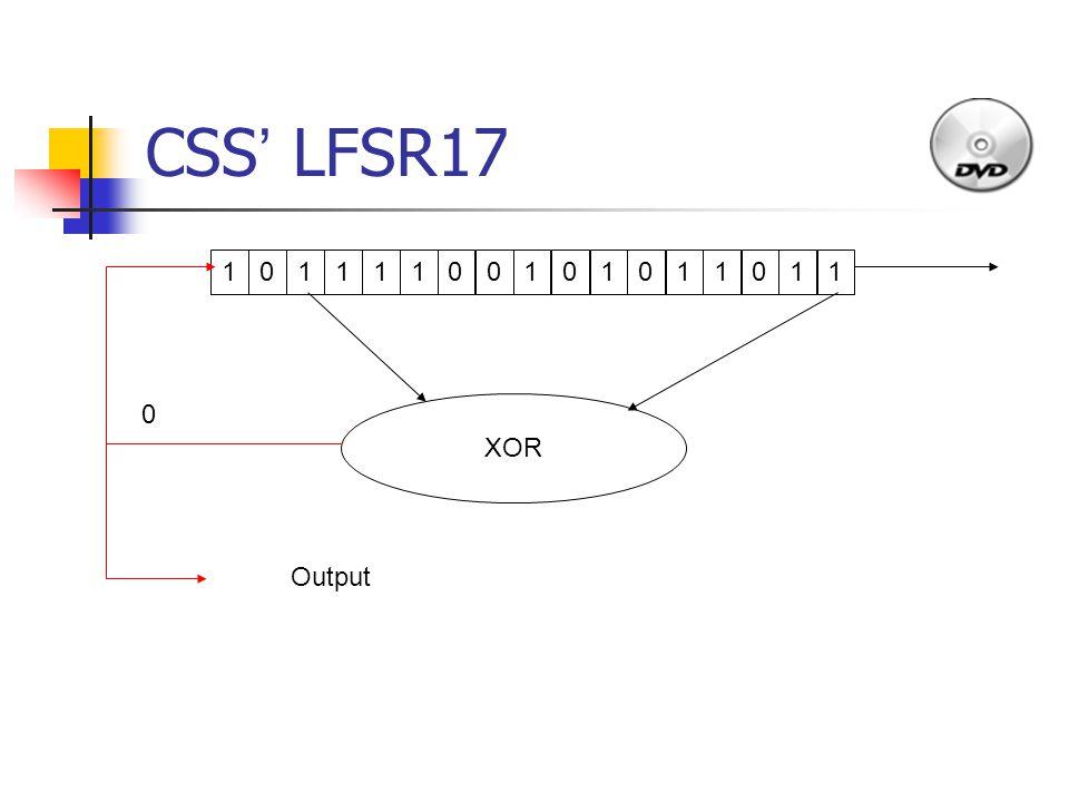 CSS ' LFSR17 1011110010101 1 011 XOR Output 0