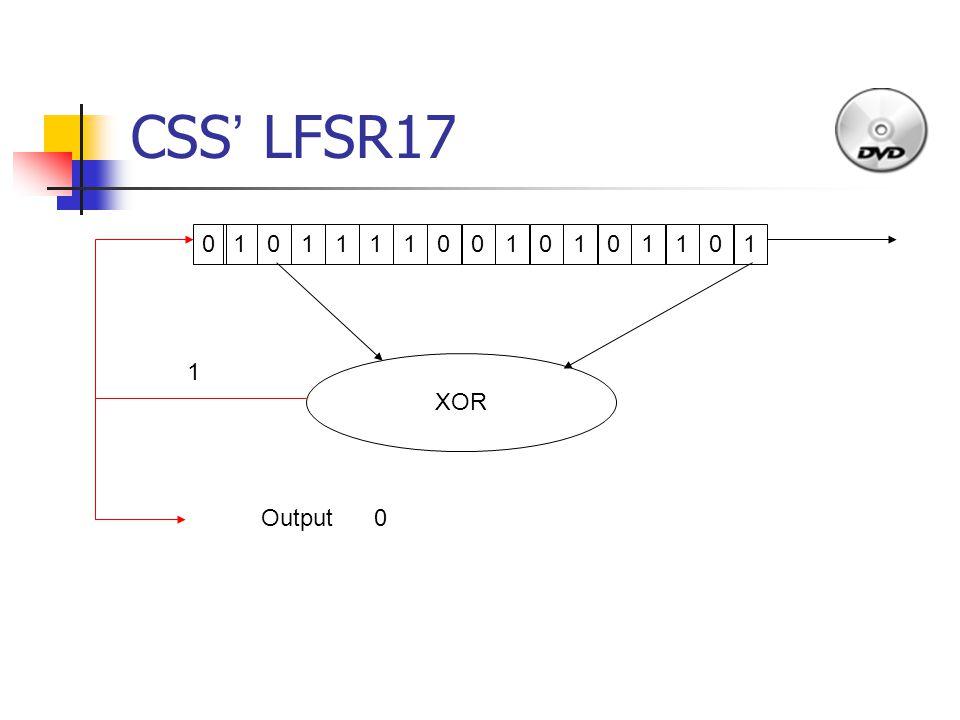 CSS ' LFSR17 1011110010101 1 010 XOR Output 1 0