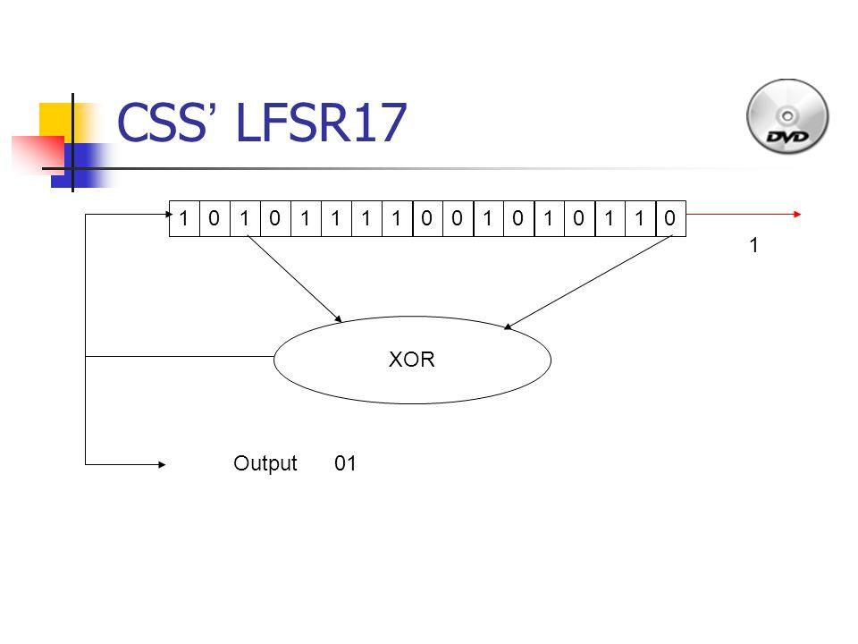 CSS ' LFSR17 1011110010101 1 010 XOR Output 1 01