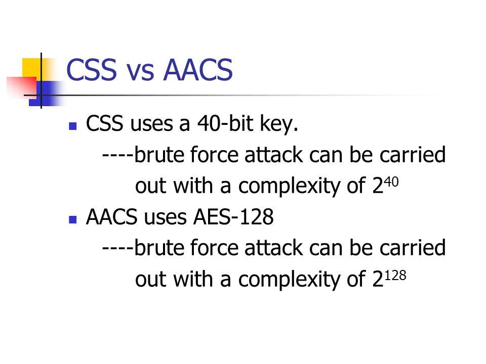 CSS vs AACS CSS uses a 40-bit key.