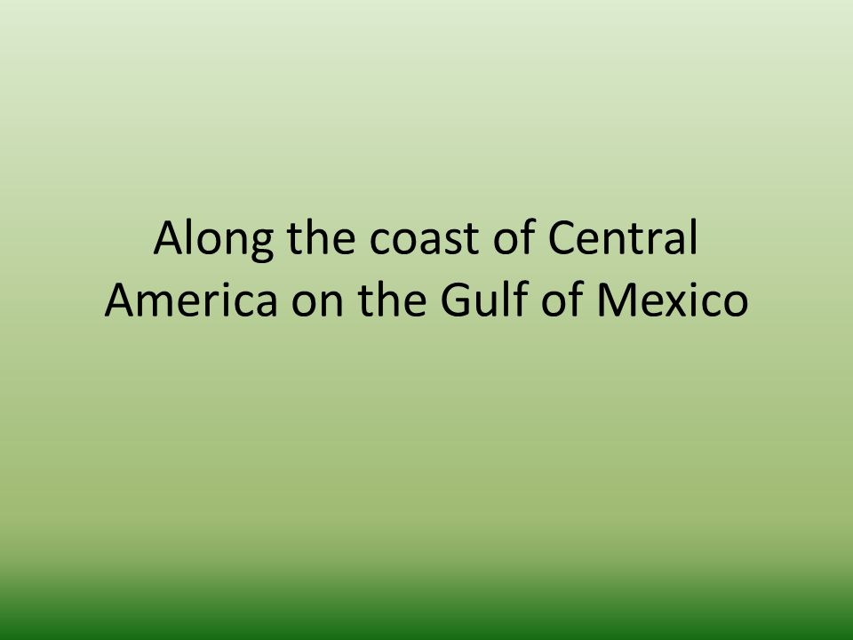 Along the coast of Central America on the Gulf of Mexico