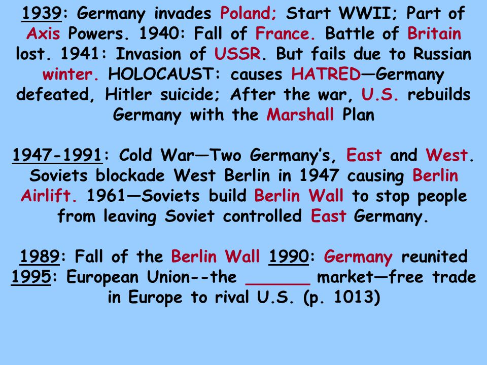 1939: Germany invades Poland; Start WWII; Part of Axis Powers.