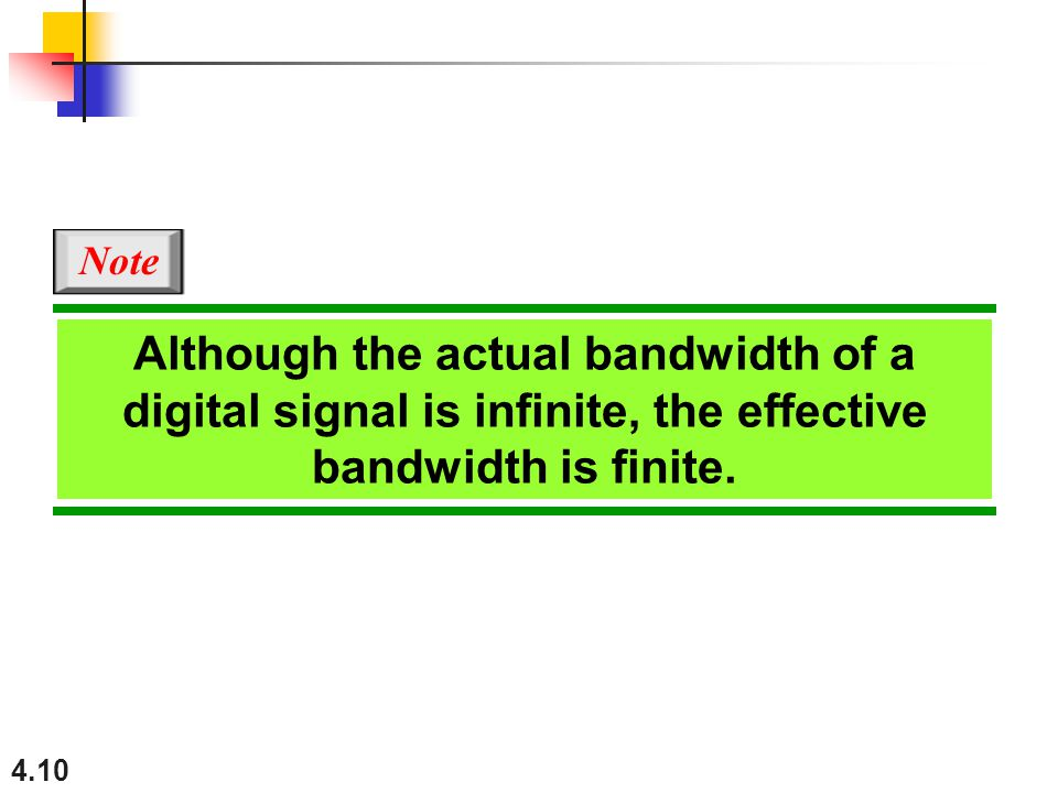 4.10 Although the actual bandwidth of a digital signal is infinite, the effective bandwidth is finite.