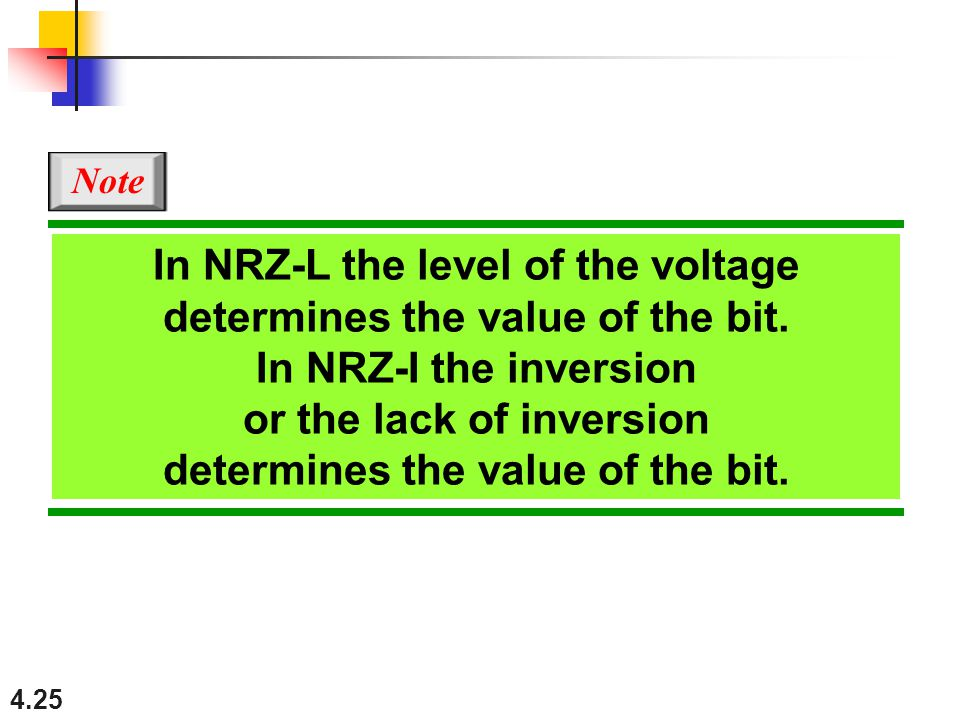 4.25 In NRZ-L the level of the voltage determines the value of the bit.
