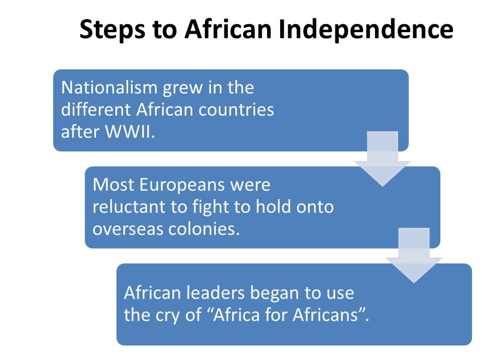 INDEPENDENCE MOVEMENTS Imperialist nations diverted and weakened by World War II Cold War – Soviet Union encouraged anti- colonial settlement Growing literacy and education among Africans Africans had increased contacts with one another and with non-African world