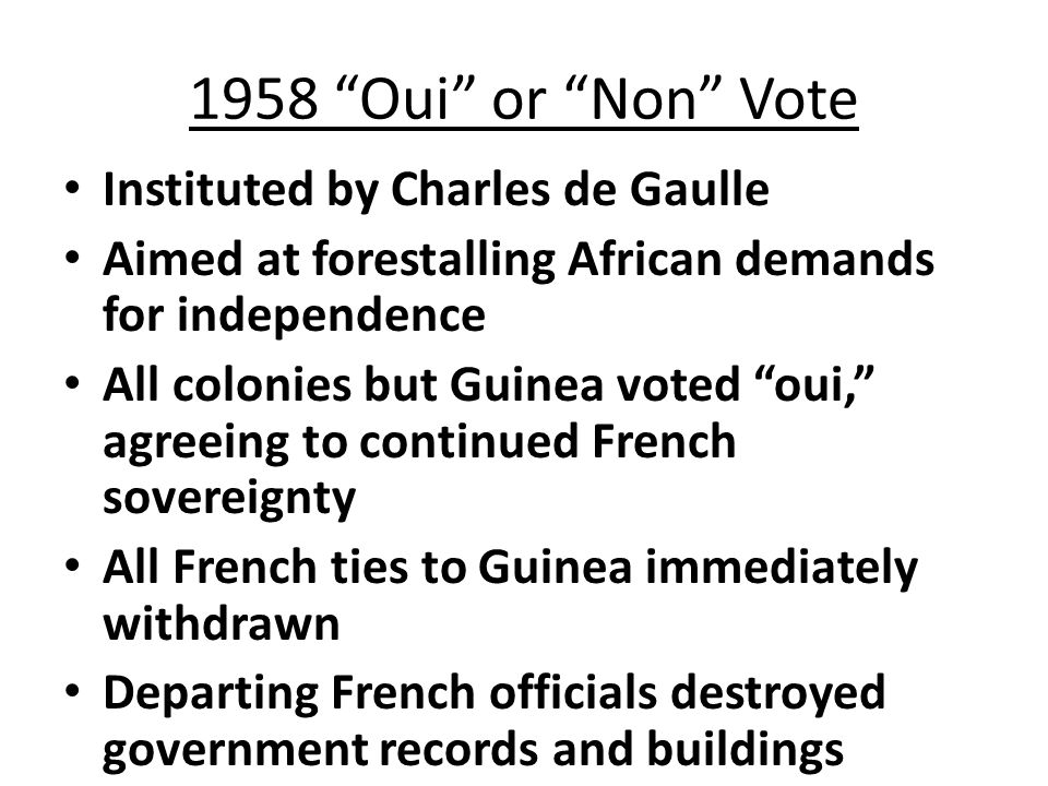 French West and Equatorial Africa After 1946, French West and Equatorial Africa were permitted to send ten delegates to the French National Assembly Many of these delegates returned to Africa and became nationalist leaders By 1956, internal self-government had been achieved throughout French West and Equatorial Africa