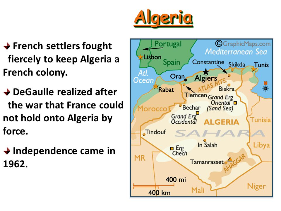 FRENCH AFRICA In Algeria, warfare raged from 1954 through 1962 as the Front de la Liberation Nationale (FLN).