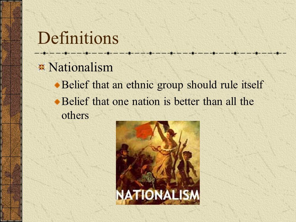 Definitions Colonialism Taking direct control of an area and turning it into a colony under a nation's authority
