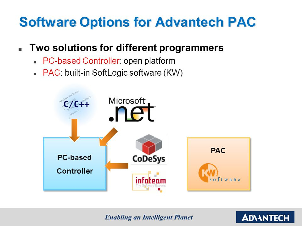 Advantech IEC 61131-3 SoftLogic Software Development Environment: MultiProg Real-time performance (1 ms) Off-line simulation & online download Runtime Engine: ProConOS Built-in in Advantech PAC controller No need extra payment for license Sequential Function Chart (SFC) Structure Text (ST) Instruction List (IL) Ladder Function Block (FB)