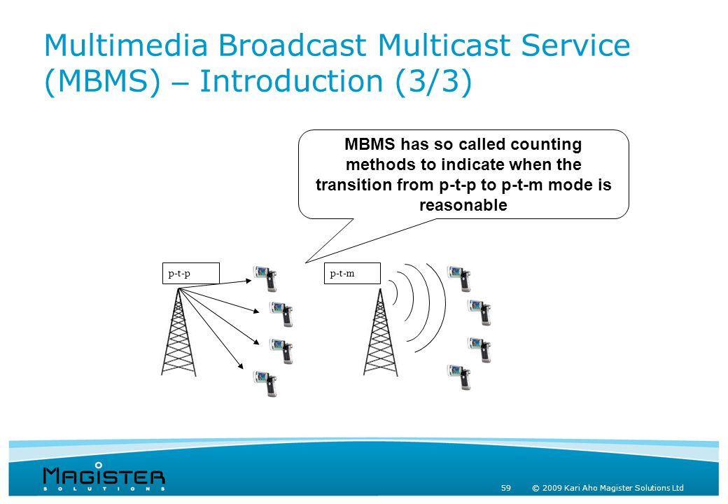 59 © 2009 Kari Aho Magister Solutions Ltd Multimedia Broadcast Multicast Service (MBMS) – Introduction (3/3) p-t-pp-t-m MBMS has so called counting methods to indicate when the transition from p-t-p to p-t-m mode is reasonable