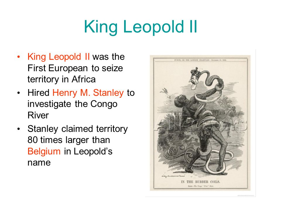 King Leopold II King Leopold II was the First European to seize territory in Africa Hired Henry M. Stanley to investigate the Congo River Stanley clai