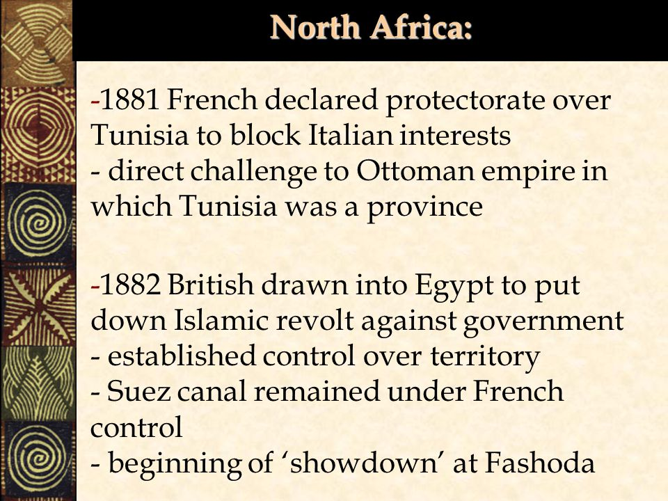 North Africa: -1881 French declared protectorate over Tunisia to block Italian interests - direct challenge to Ottoman empire in which Tunisia was a province -1882 British drawn into Egypt to put down Islamic revolt against government - established control over territory - Suez canal remained under French control - beginning of 'showdown' at Fashoda