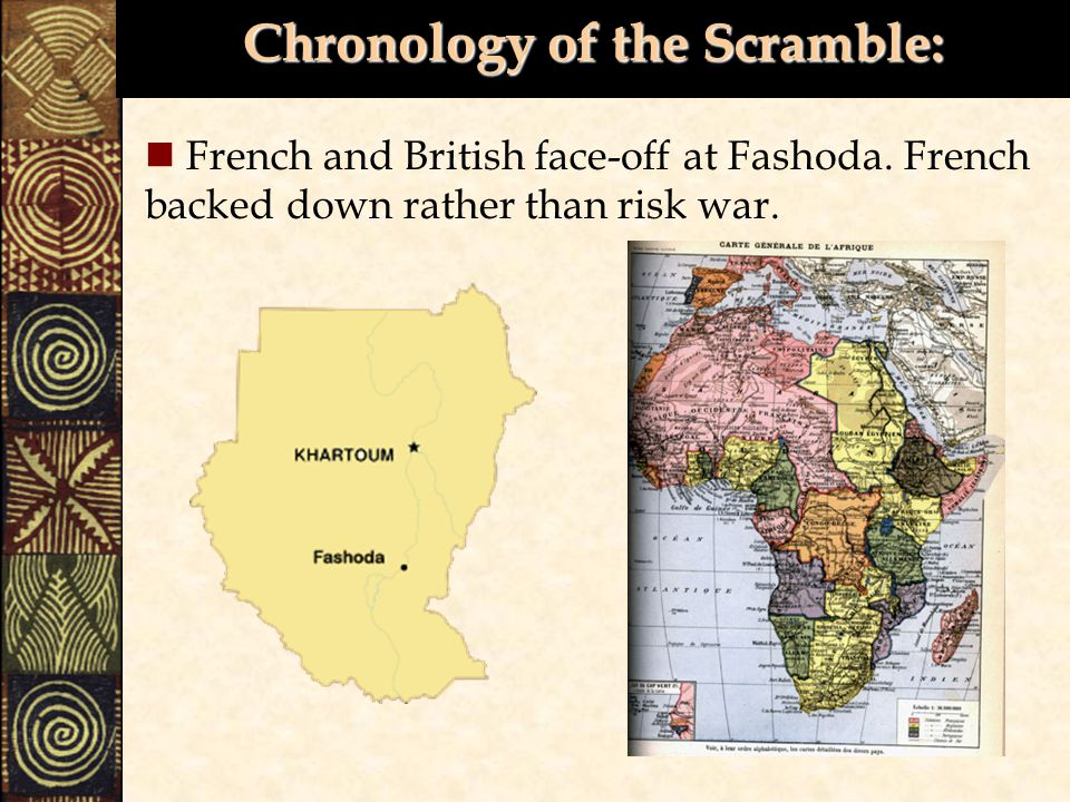 Chronology of the Scramble: French and British face-off at Fashoda.
