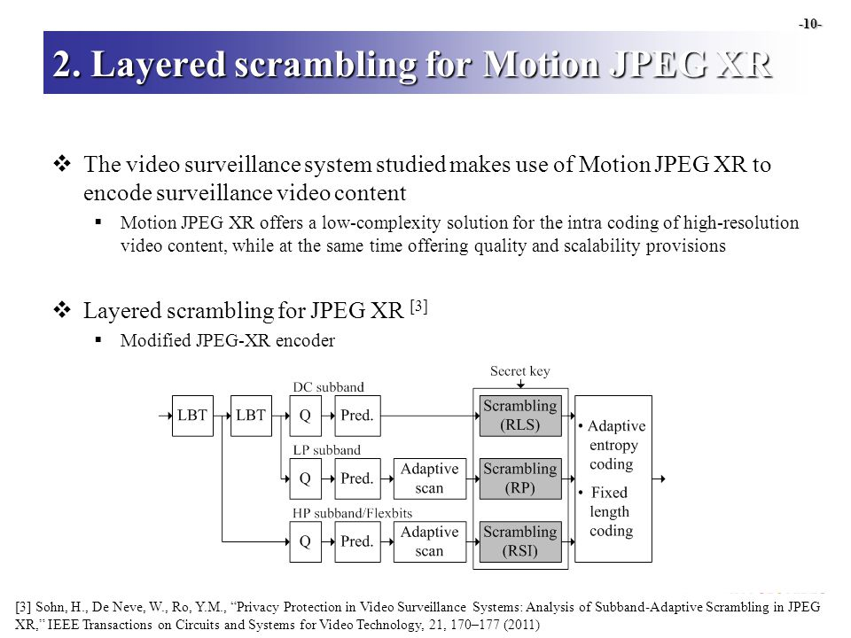 2. Layered scrambling for Motion JPEG XR  The video surveillance system studied makes use of Motion JPEG XR to encode surveillance video content  Mo