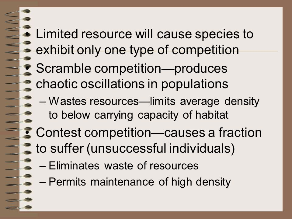 As populations increase toward insufficient resources, scrambling competition reduces food intake.