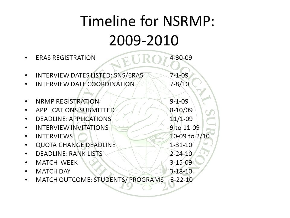 Timeline for NSRMP: 2009-2010 ERAS REGISTRATION 4-30-09 INTERVIEW DATES LISTED: SNS/ERAS 7-1-09 INTERVIEW DATE COORDINATION7-8/10 NRMP REGISTRATION 9-1-09 APPLICATIONS SUBMITTED 8-10/09 DEADLINE: APPLICATIONS 11/1-09 INTERVIEW INVITATIONS 9 to 11-09 INTERVIEWS 10-09 to 2/10 QUOTA CHANGE DEADLINE 1-31-10 DEADLINE: RANK LISTS 2-24-10 MATCH WEEK 3-15-09 MATCH DAY3-18-10 MATCH OUTCOME: STUDENTS/ PROGRAMS 3-22-10