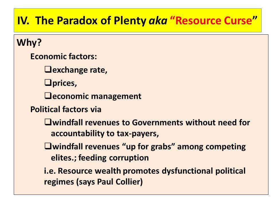 IV. The Paradox of Plenty aka Resource Curse Why.