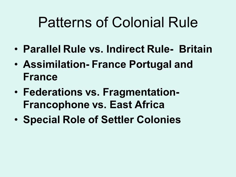 Patterns of Colonial Rule Parallel Rule vs.