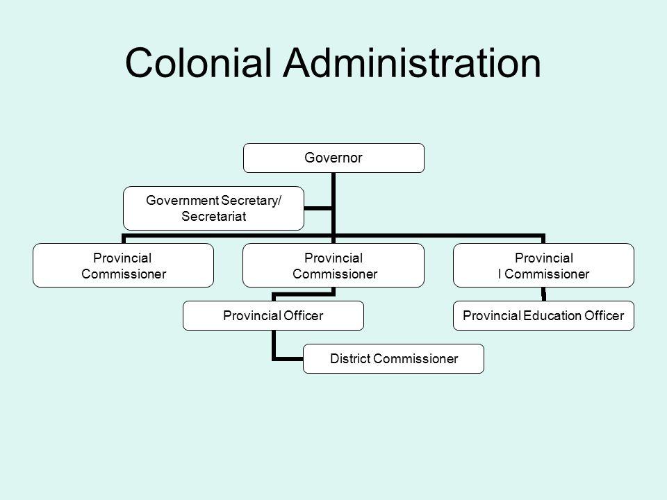 Colonial Administration Governor Provincial Commissioner Provincial Commissioner Provincial Officer District Commissioner Provincial l Commissioner Provincial Education Officer Government Secretary/ Secretariat