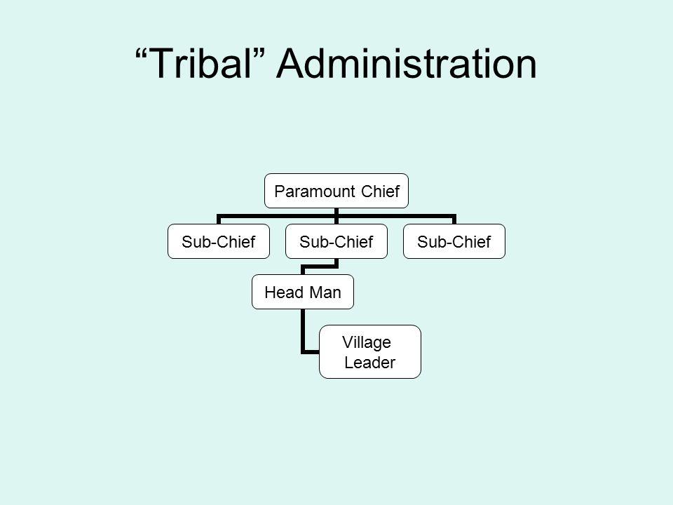 Tribal Administration Paramount Chief Sub-Chief Head Man Village Leader Sub-Chief