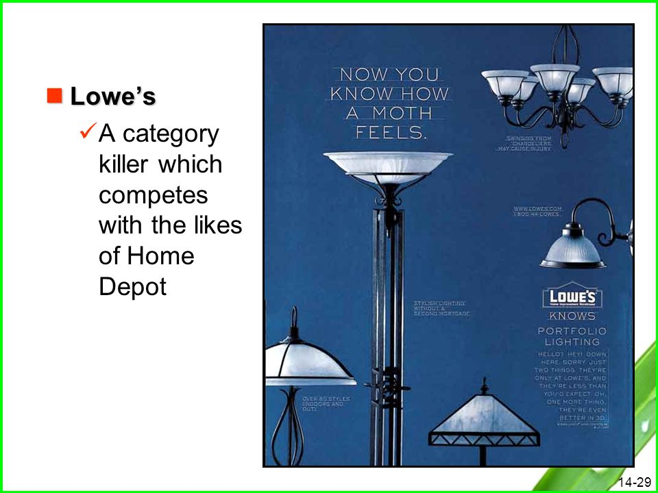 14-29 Lowe's Lowe's A category killer which competes with the likes of Home Depot