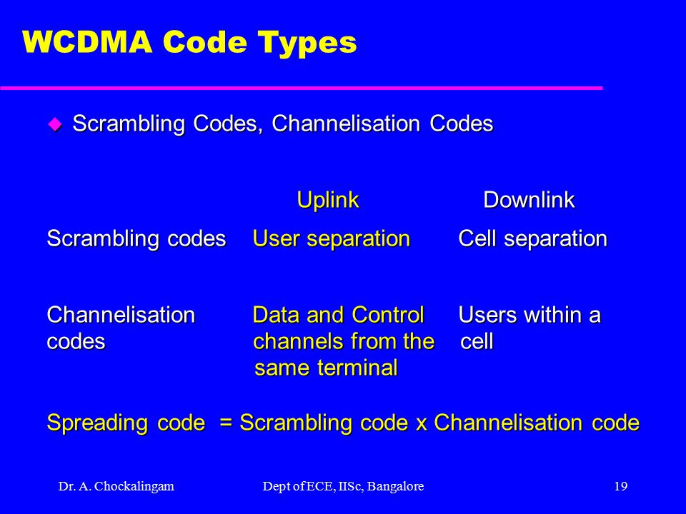 Dr. A. ChockalingamDept of ECE, IISc, Bangalore18 U/L Scrambling Codes u Use complex valued scrambling code u Long scrambling sequences (2^24) –Gold s