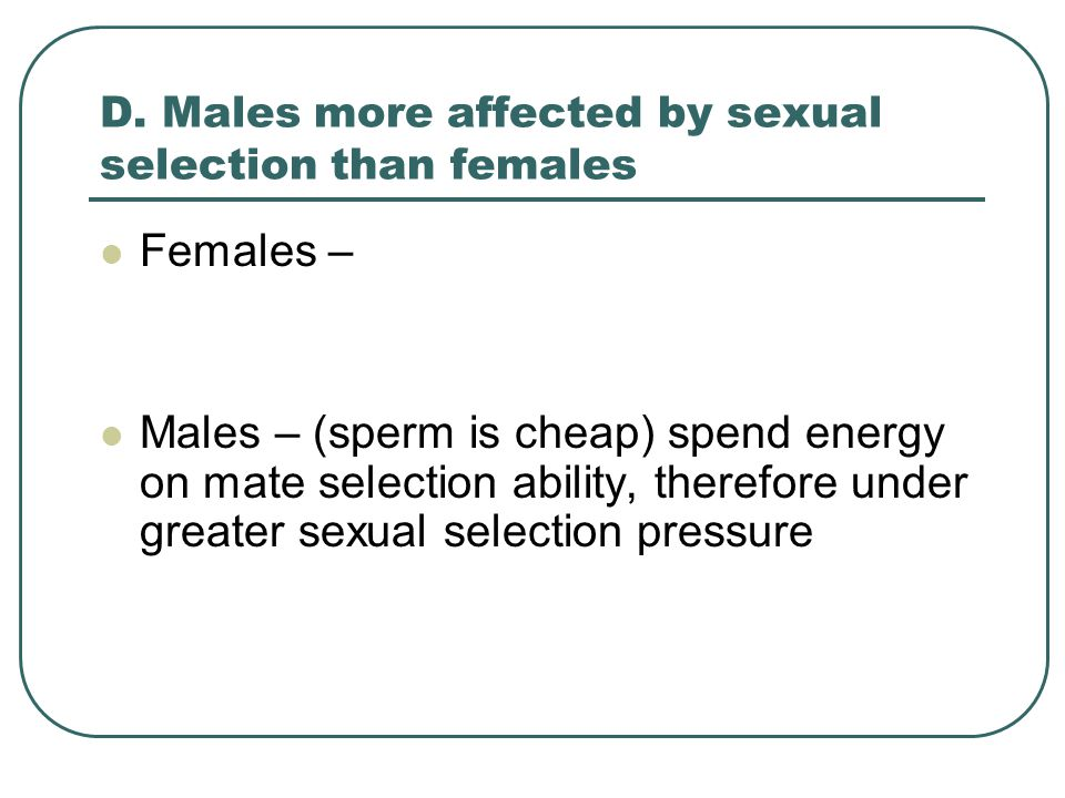 D. Males more affected by sexual selection than females Females – Males – (sperm is cheap) spend energy on mate selection ability, therefore under gre