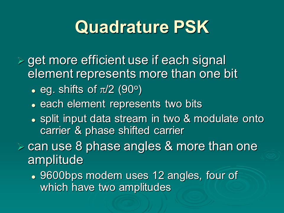 Quadrature PSK  get more efficient use if each signal element represents more than one bit eg.