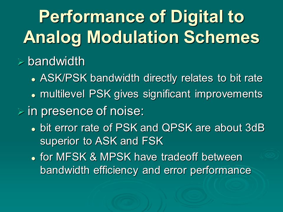 Performance of Digital to Analog Modulation Schemes  bandwidth ASK/PSK bandwidth directly relates to bit rate ASK/PSK bandwidth directly relates to bit rate multilevel PSK gives significant improvements multilevel PSK gives significant improvements  in presence of noise: bit error rate of PSK and QPSK are about 3dB superior to ASK and FSK bit error rate of PSK and QPSK are about 3dB superior to ASK and FSK for MFSK & MPSK have tradeoff between bandwidth efficiency and error performance for MFSK & MPSK have tradeoff between bandwidth efficiency and error performance
