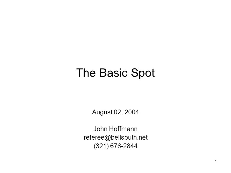 1 The Basic Spot August 02, 2004 John Hoffmann (321)