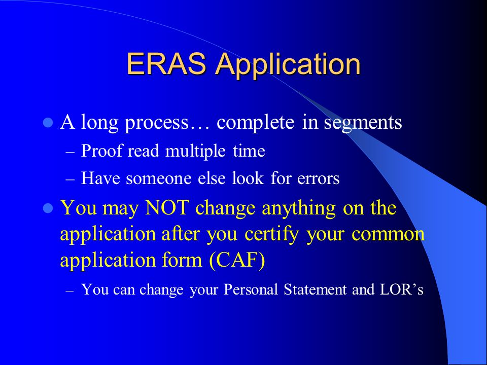 What you need to know about ERAS Token to register will be emailed to you – You will NOT have an AAMC ID # so leave this field blank when you register Once registration is complete, you will receive your AAMC ID# Brand this # into your brain.