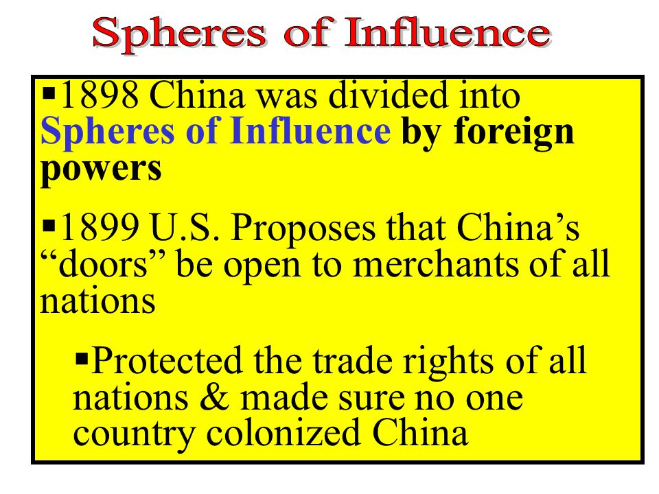 """ 1898 China was divided into Spheres of Influence by foreign powers  1899 U.S. Proposes that China's """"doors"""" be open to merchants of all nations  P"""