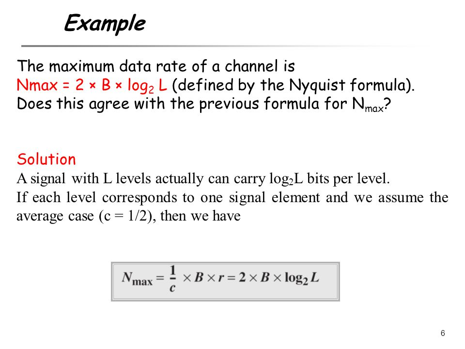 The maximum data rate of a channel is Nmax = 2 × B × log 2 L (defined by the Nyquist formula). Does this agree with the previous formula for N max ? S