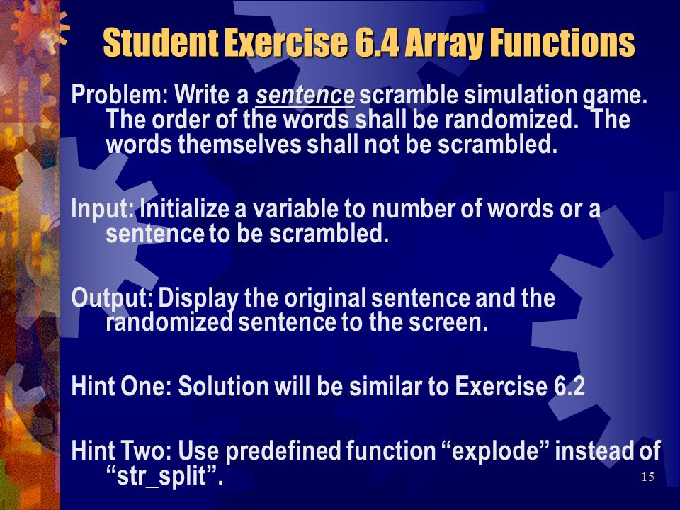 sentence Problem: Write a sentence scramble simulation game.