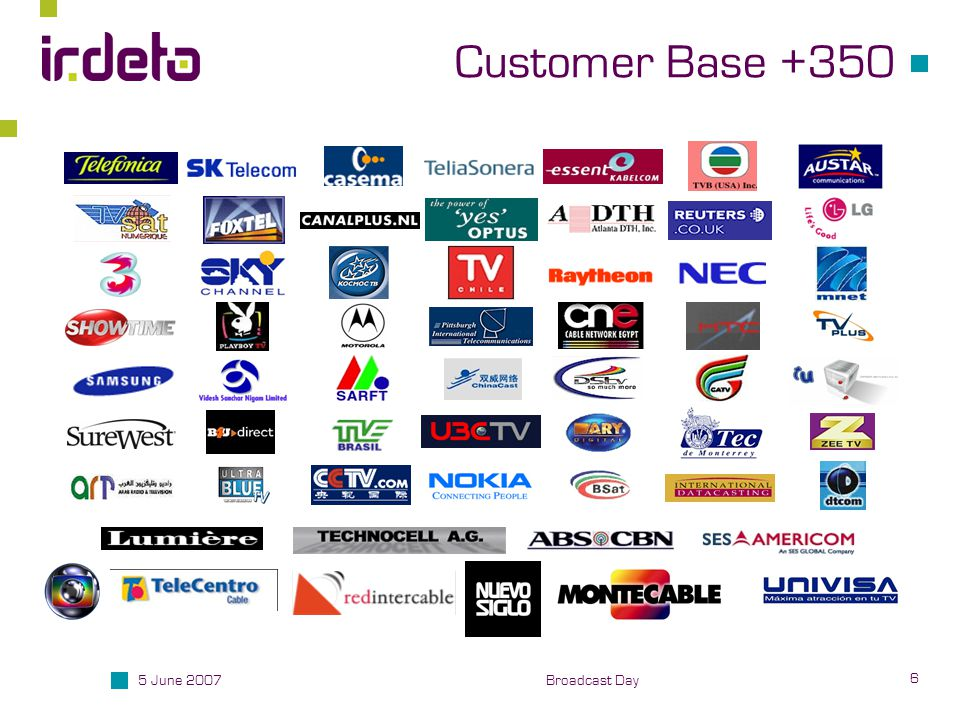 5 June 2007 6 Broadcast Day Customer Base +350
