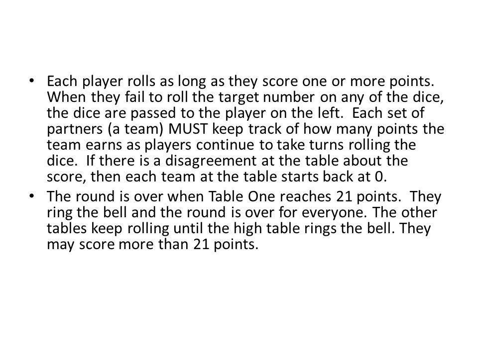 Each player rolls as long as they score one or more points.
