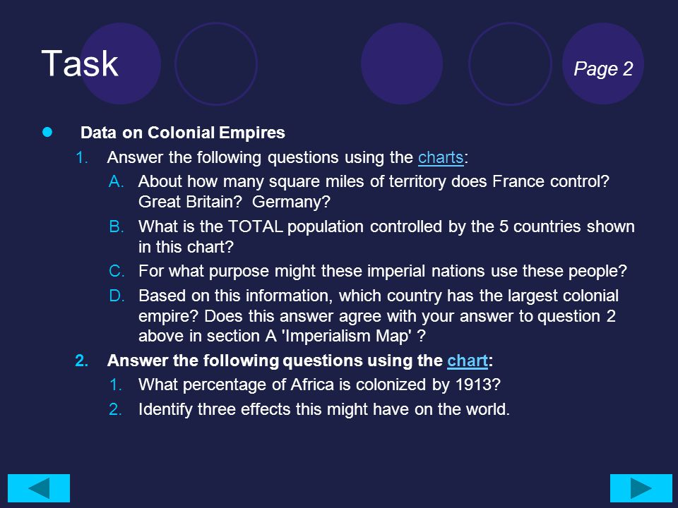 Task Page 2 Data on Colonial Empires 1.Answer the following questions using the charts:charts A.About how many square miles of territory does France control.
