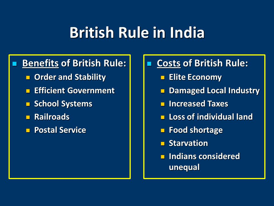 British Rule in India Benefits of British Rule: Benefits of British Rule: Order and Stability Order and Stability Efficient Government Efficient Government School Systems School Systems Railroads Railroads Postal Service Postal Service Costs of British Rule: Costs of British Rule: Elite Economy Damaged Local Industry Increased Taxes Loss of individual land Food shortage Starvation Indians considered unequal