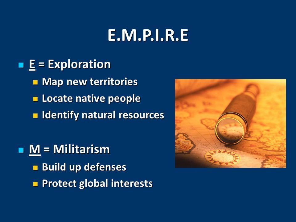 E.M.P.I.R.E E = Exploration E = Exploration Map new territories Map new territories Locate native people Locate native people Identify natural resourc