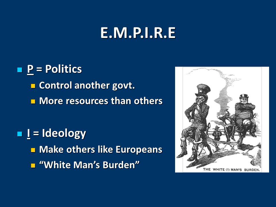 E.M.P.I.R.E P = Politics P = Politics Control another govt. Control another govt. More resources than others More resources than others I = Ideology I