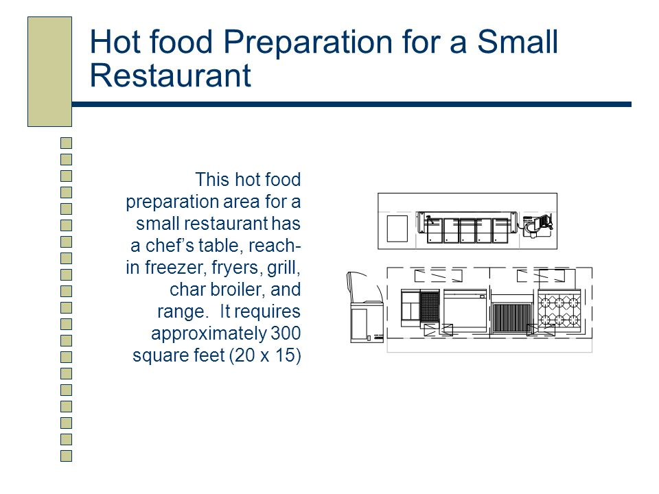Hot food Preparation for a Small Restaurant This hot food preparation area for a small restaurant has a chef's table, reach- in freezer, fryers, grill