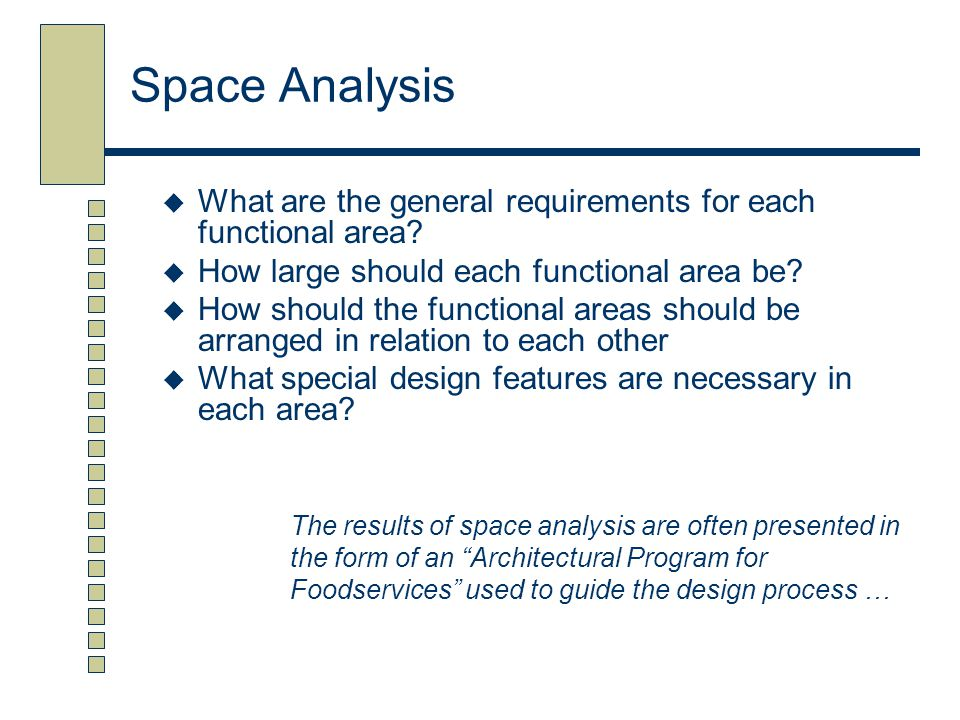 Space Analysis  What are the general requirements for each functional area?  How large should each functional area be?  How should the functional a