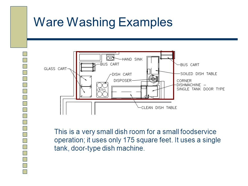 Ware Washing Examples This is a very small dish room for a small foodservice operation; it uses only 175 square feet. It uses a single tank, door-type