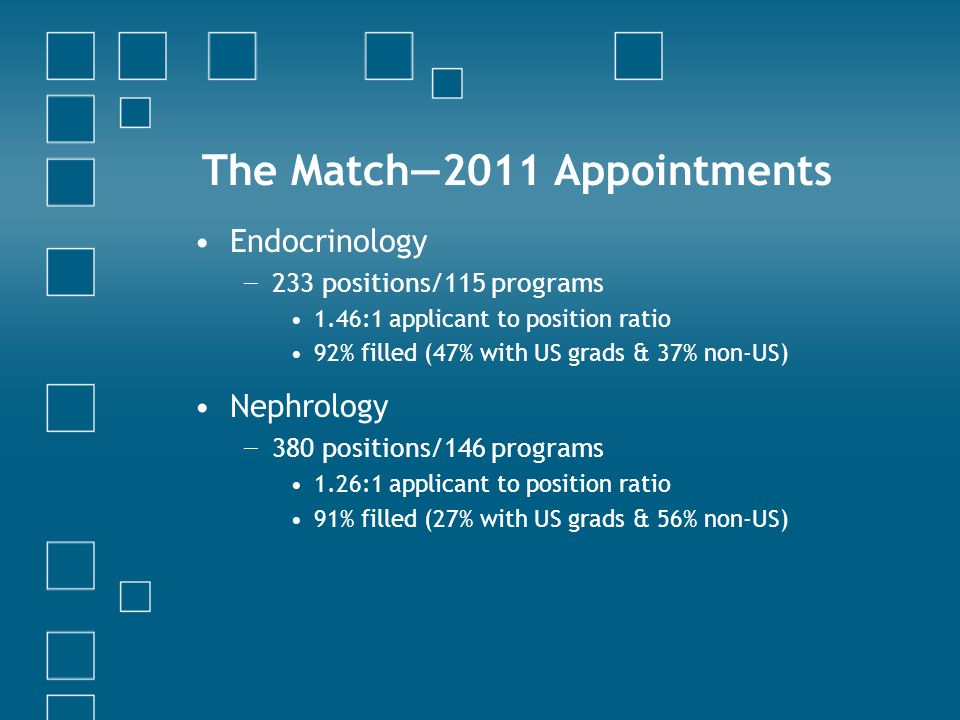 The Match—2011 Appointments Endocrinology − 233 positions/115 programs 1.46:1 applicant to position ratio 92% filled (47% with US grads & 37% non-US) Nephrology − 380 positions/146 programs 1.26:1 applicant to position ratio 91% filled (27% with US grads & 56% non-US)